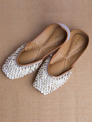 White Lavender Handcrafted Sequined Heavy Linen Juttis