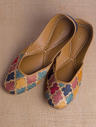 Multicolored Handcrafted Printed Cotton Satin Juttis