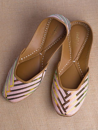 Peach Gold Handcrafted Raw Silk Juttis