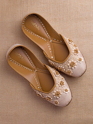 Beige Hand Embroidered Suede Juttis