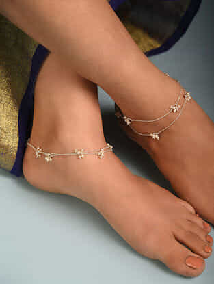 Silver Anklet with Pearls