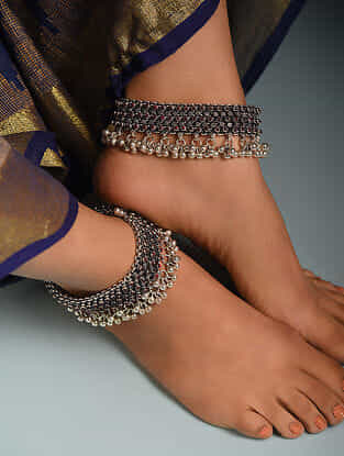 Maroon Tribal Silver Anklets with Pearls  (Set of 2)