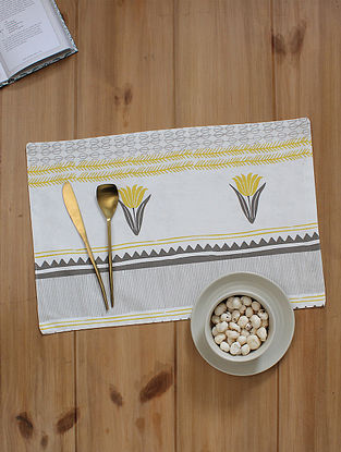 Yellow Handcrafted Cotton Table Placemats (19inX13in)(Set of 2)