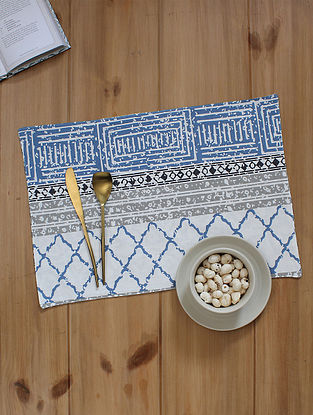 Blue Handcrafted Cotton Table Placemats (19inX13in)(Set of 2)
