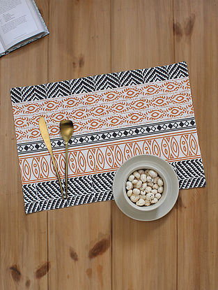 Orange Handcrafted Cotton Table Placemats (13inX19in)(Set of 2)