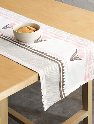 Pink Handcrafted Cotton Table Runners (72inX13in)