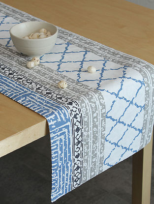 Blue Handcrafted Cotton Table Runners (72inX13in)