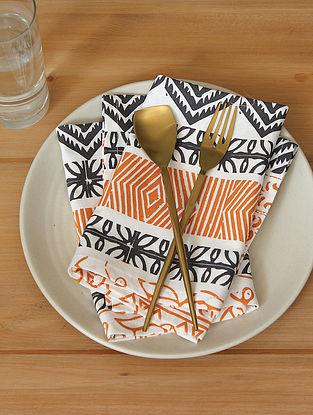 Orange Handcrafted Cotton Napkin (16inX16in)(Set of 2)