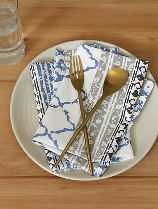 Blue Handcrafted Cotton Napkin (16inX16in)(Set of 2)