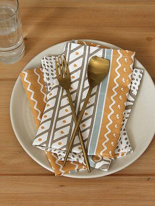 Beige Handcrafted Cotton Napkin (16inX16in)(Set of 4)