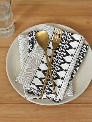 Black Handcrafted Cotton Napkin (16inX16in)(Set of 4)