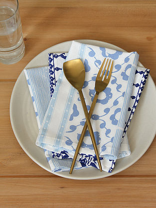 Blue Handcrafted Cotton Napkin (16inX16in)(Set of 4)