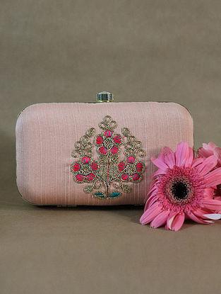 Peach Handcrafted Raw Silk Clutch