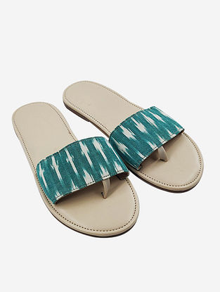 Mint Green Handcrafted Ikat Faux Leather Flats