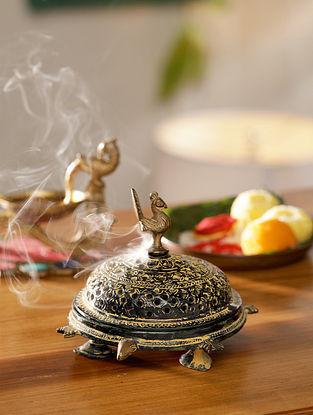 Antique Brass Incense Burner (L-6.5in, W-5.5in, H-4.5in)
