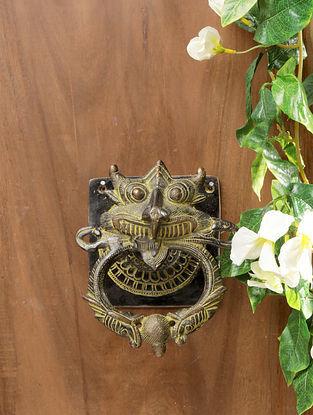 Antique Tibetan Brass Art Door Knocker (L-5.75in, W-6.25in, H-4in)