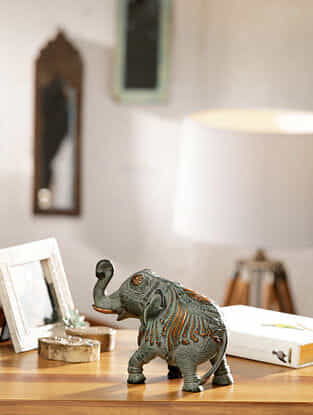 Antique Elephant Brass  Table Top Accent (L-8in, W-4in, H-6in)