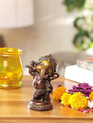 Ganesha Brass Handcrafted Idol (L-3.75in, W-3in, H-5in)