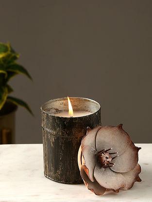 Antique Glass Pillar Candle (L-3.75in, W-3.75in, H-4.25in)
