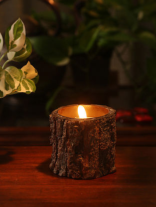 Bark Pillar Glass Candle (L-3.5in, W-3.5in, H-3.25in)