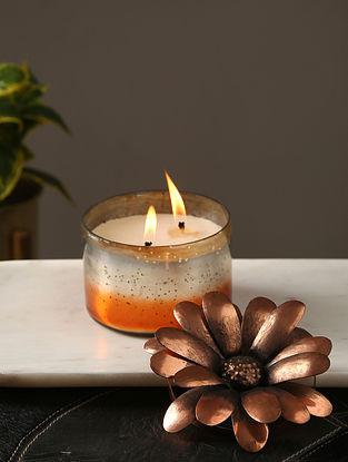 Silver Coppre Glass Pillar Candle (L-4.75in, W-4.75in, H-3.75in)