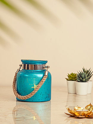 Blue Glass Lantern with Jute Handle (L-5.5in, W-5.5in, H-6.25in)