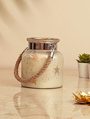 Silver Glass Lantern with Jute Handle (L-6.5in, W-6.5in, H-8.5in)