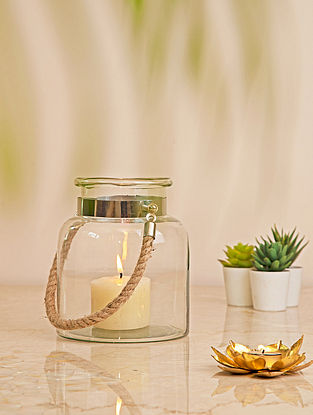Glass Lantern with Jute Handle(L-6.5in, W-6.5in, H-8in)