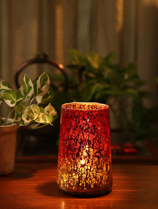 Red and Ombre Glass Votive (L-4in, W-4in, H-6in)