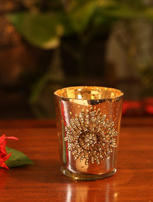 Silver Glass Votive (H-2.75in, W-2.75in, H-3in)