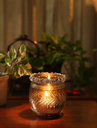 Glass Votive with Metal Ring (L-3.25in, W-3.25, H-3.75in)
