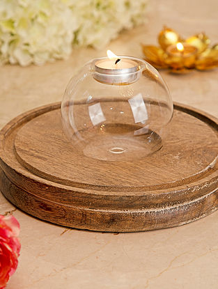 Glass Tealight Holder (L-4in, W-4in, H-3.5in)