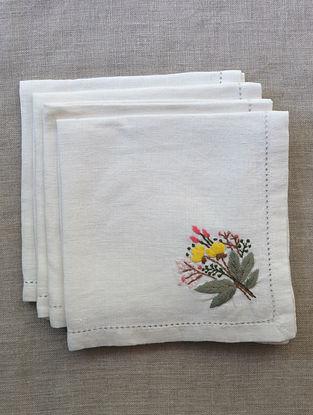 Cream & Multi Color Hand Embroidered Linen Table Napkin (Set Of 4)