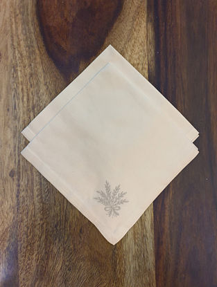 White With Grey Embroidered Cotton Table Napkin (Set Of 2)