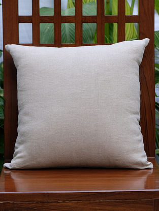 Solid Beige Linen Cushion Cover (16in x 16in)