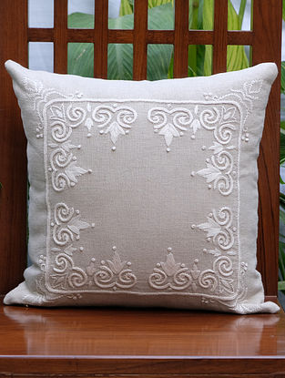 Rajwarah Beige Hand Embroidered Linen Cushion Cover (16in x 16in)