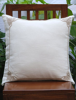 Rajwarah Cream Hand Embroidered Linen Cushion Cover (19.5in x 19.5in)