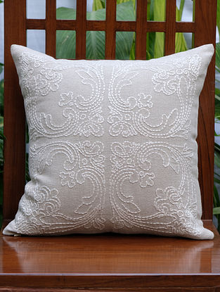 Beige Hand Embroidered Linen Cushion Cover (16in x 16in)
