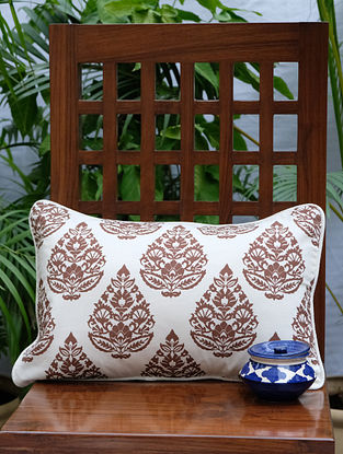 Rajwarah Cream And Brown Printed Cotton Cushion Cover (12in x 18in)