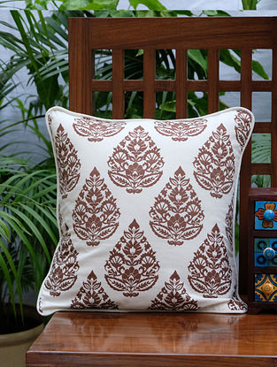 Rajwarah Cream And Brown Printed Cotton Cushion Cover (16in x 16in)