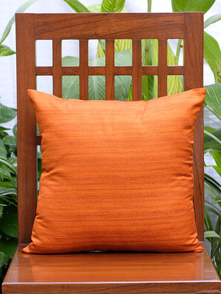 Solid Orange Cotton Silk Blend Cushion Cover (16in x 16in)