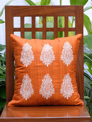 Persian Paisley Orange Embroidered Cotton Silk Blend Cushion Cover (16in x 16in)