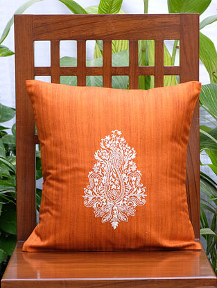 Persian Paisley Orange Single Embroidered Cotton Silk Blend Cushion Cover (16in x16in)