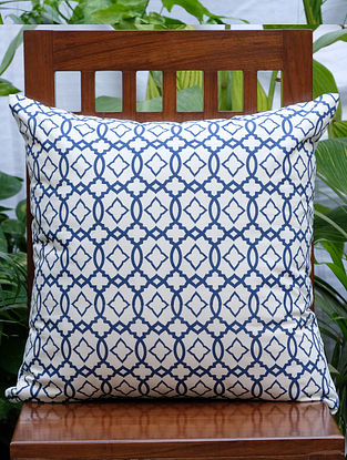 Moroccan Cream And Navy Printed Cotton Cushion Cover (20in x 20in)