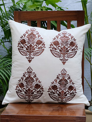 Rajwarah Brown Embroidered Cream Cotton Cushion Cover (16in x 16in)