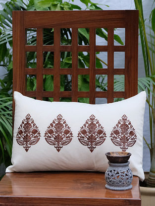 Rajwarah Brown Embroidered Cream Cotton Cushion Cover (12in x 18in)
