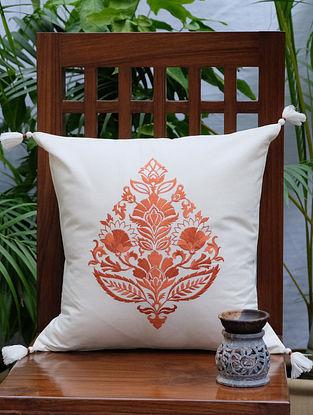 Rajwarah Orange Embroidered Cream Cotton Cushion Cover (16in x 16in)