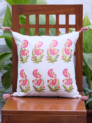 Zehrat Rose Pink Embroidered Off White Cotton Cushion Cover (16in x 16in)