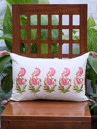 Zehrat Rose Pink Embroidered Cream Cotton Cushion Cover (12in x 17in)