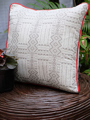 Distress Ashkal Cream And Grey Printed Cotton Cushion Cover (16in x 16in)